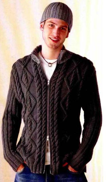 Вязание для мужчин: Мужские вязаные джемпера на застёжке — 10 идей
