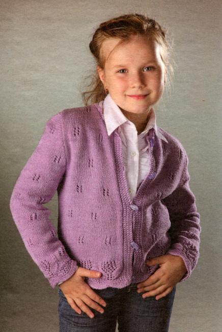 Вязаная кофта для девочки спицами