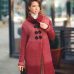 Вязание пальто спицами с пуговицами в 2 ряда