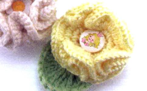 вязаный цветок на шапку