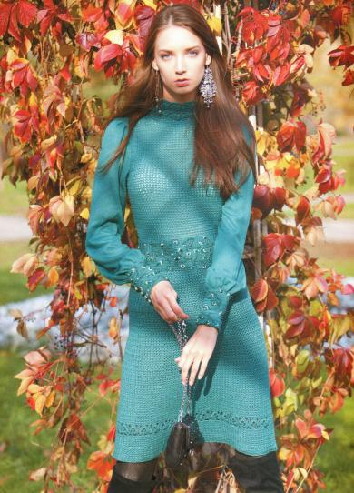 вязаное платье с длинным рукавом