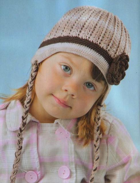 вязаная шапка крючком для девочки