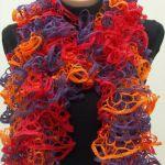 Вязание из ленточной пряжи шарфа спицами — видеоуроки