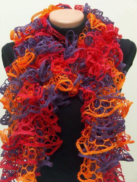 вязание из ленточной пряжи шарфа