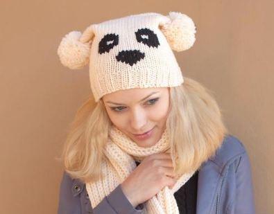 шапка панда схема вязания спицами