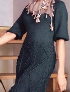 зимние вязаные платья спицами
