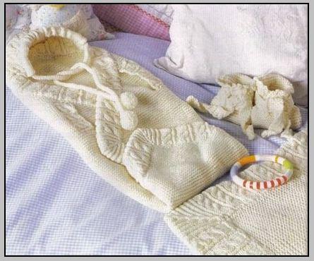 Вязаный конверт на выписку для новорожденного (4 варианта)