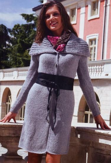 вязаное летнее пальто спицами