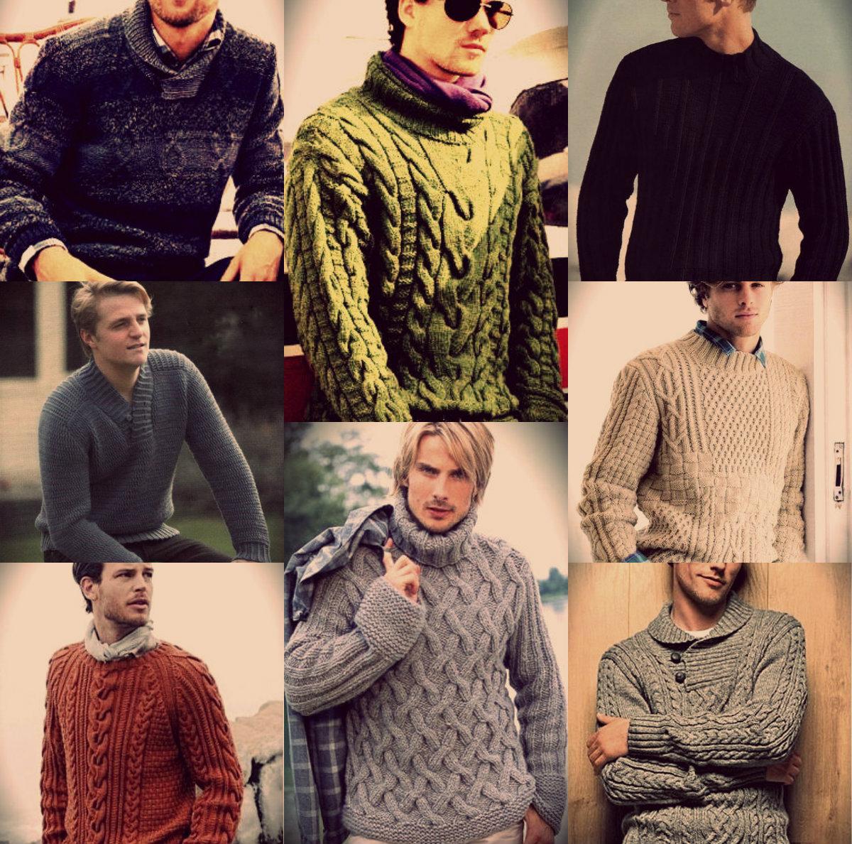 Вязание для мужчин: мужские вязаные пуловеры спицами