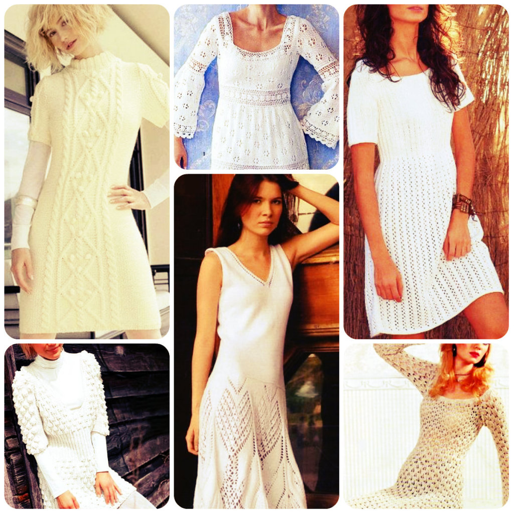 белое вязаное платье спицами фото и схема