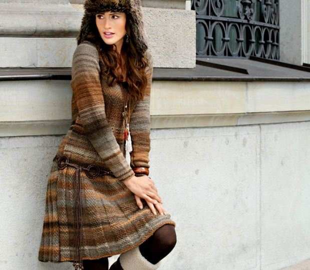 Теплое коричневое платье