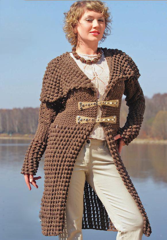 Коричневое пальто с навесной застежкой