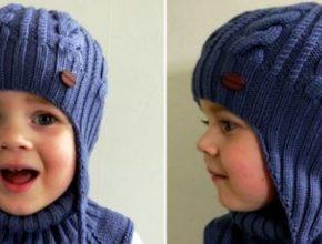 вязаная шапка ушанка для мальчика спицами