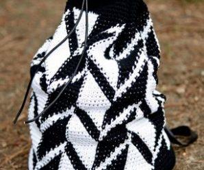 Вязаная сумка торба, схема жаккардового узора