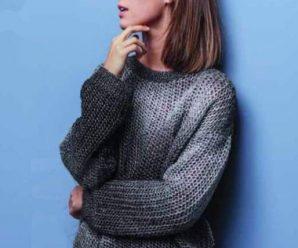 Сетчатый пуловер спицами серого цвета
