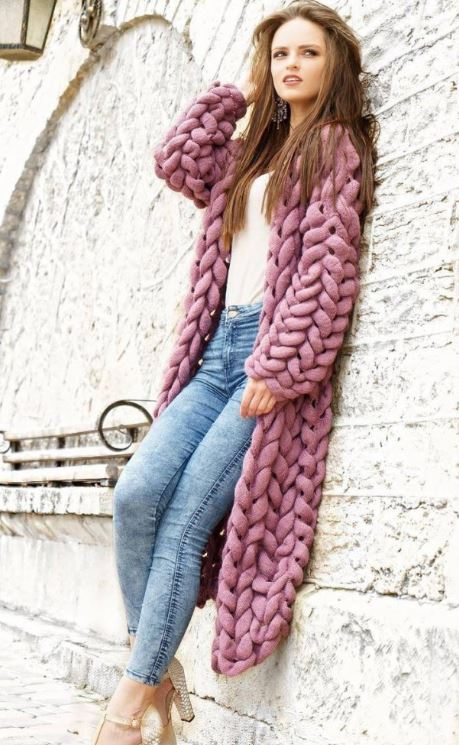 вязаное пальто спицами схема