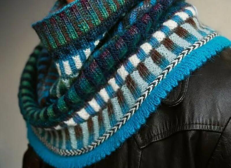 вязание резинки с двумя цветами