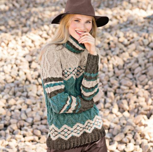 вязание свитера рельефным узором
