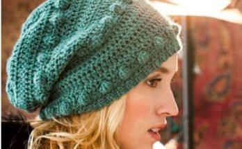 шапка крючком шишечками