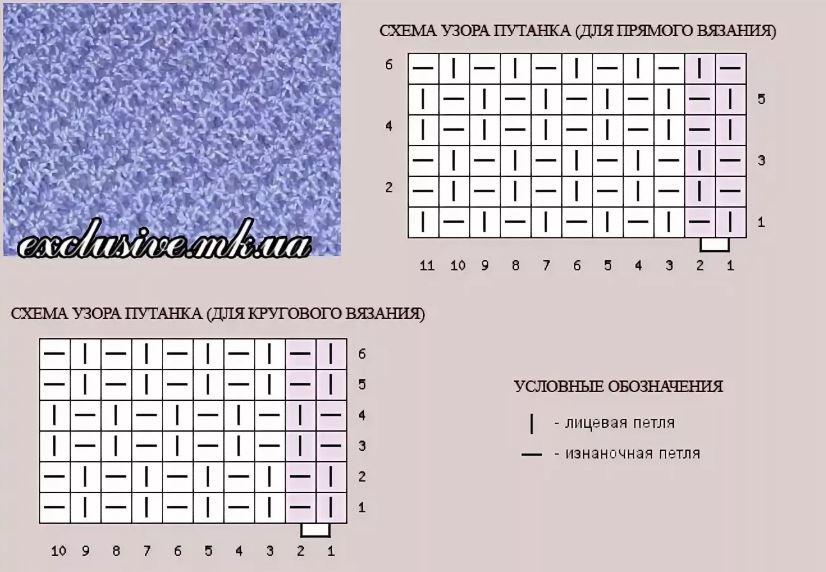схема вязания жемчужного узора спицами