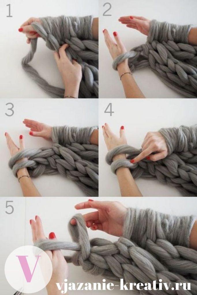 вязание пледа руками из толстой пряжи
