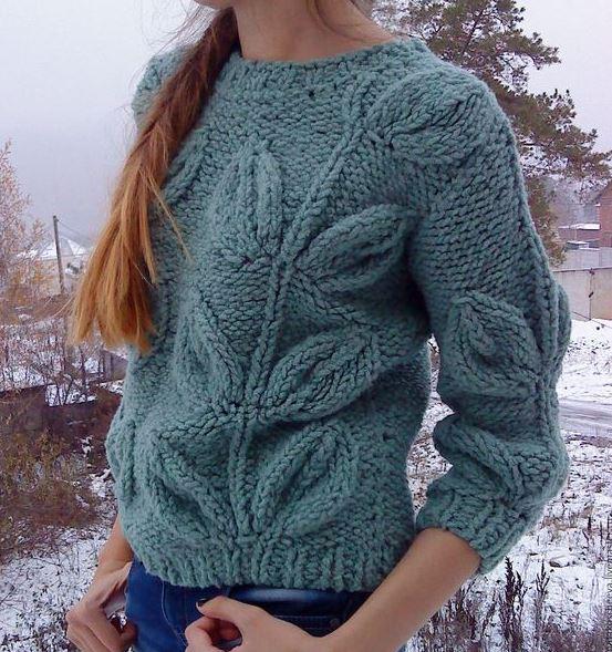 пуловер листья спицами