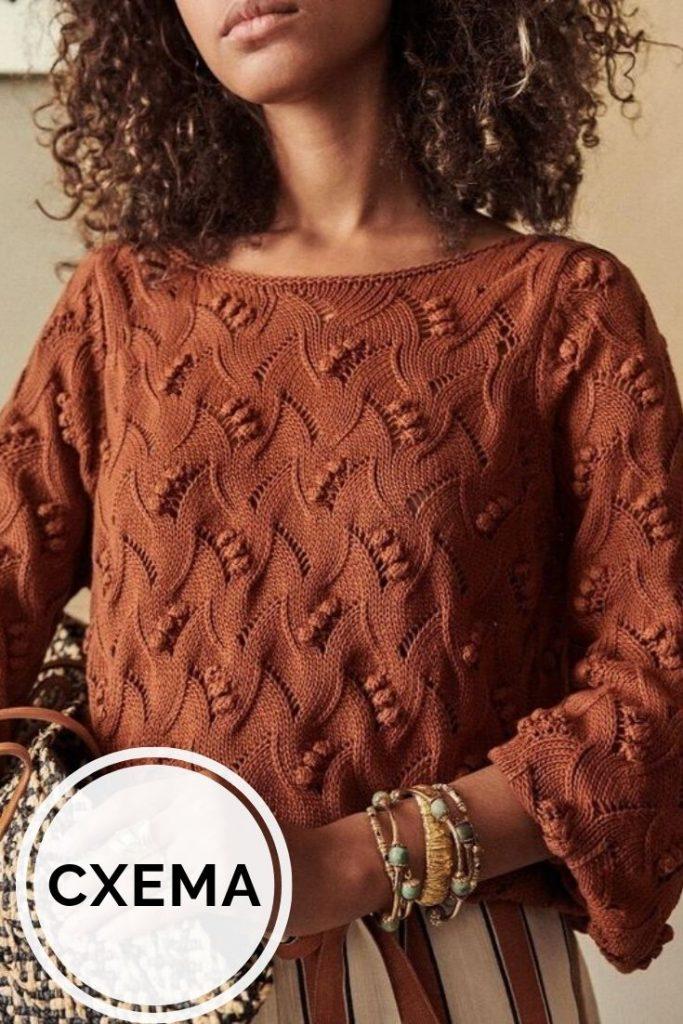 свитер спицами схема