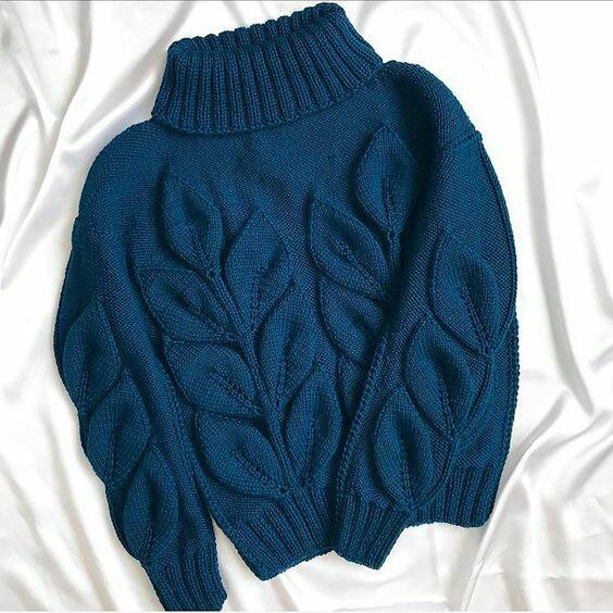 вязаный свитер листья на ветке