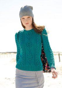 пуловер с шишечками и косами спицами
