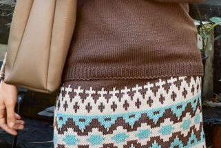 вязаная юбка спицами с жаккардом