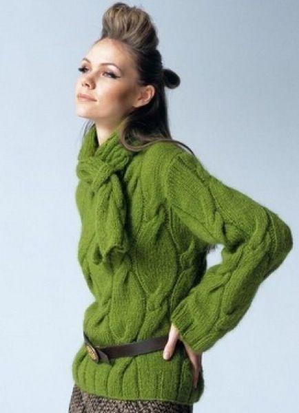 пуловер косами спицами