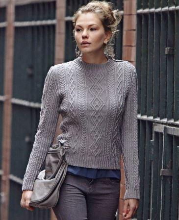 пуловер с ромбами спицами