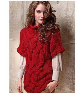 свитер с объемными косами