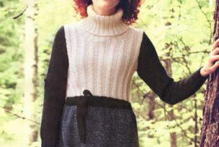 вязаное теплое платье спицами схема