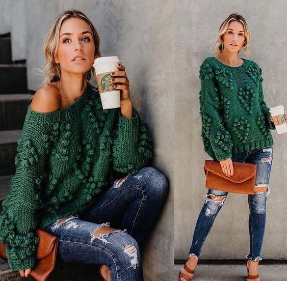 вязаный свитер спицами схема