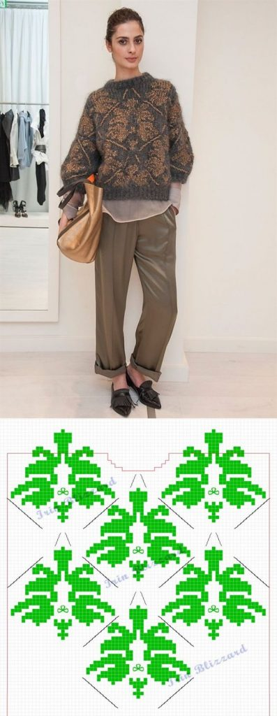 свитер жаккард спицами схема