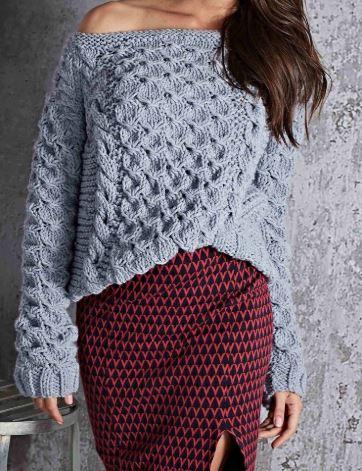 вязаный свитер оверсайз схема
