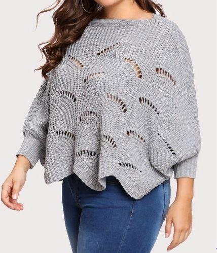 пуловер спицами оверсайз
