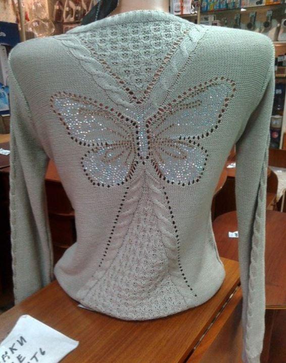 схема свитера с бабочкой