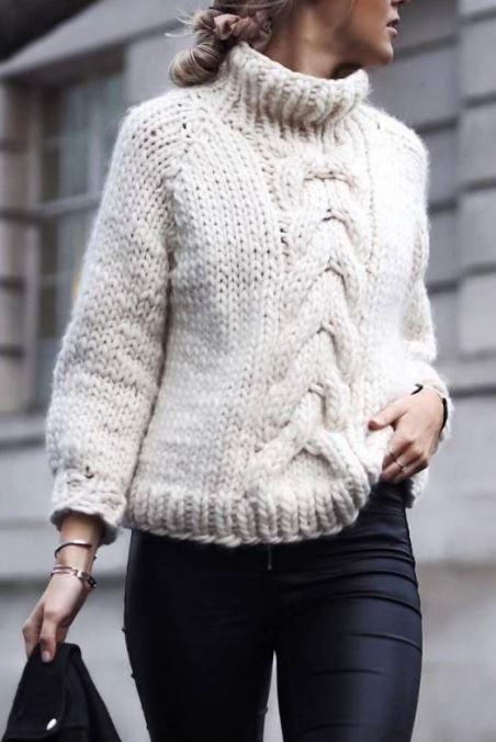 схема свитера с косой