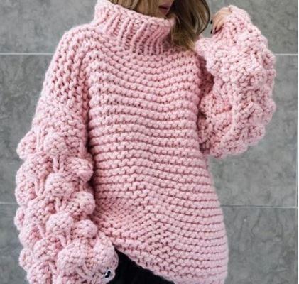 свитер малинки спицами