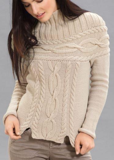 свитер с кокеткой их кос