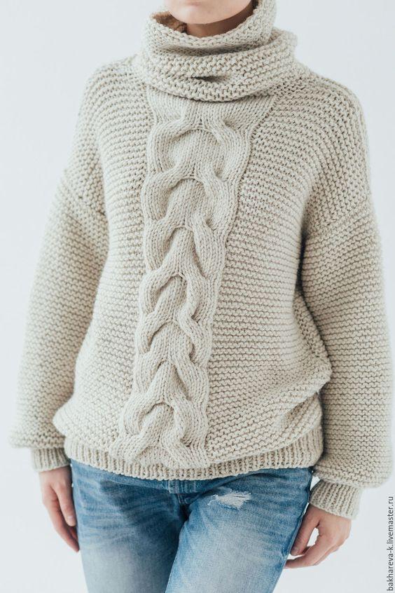 свитер с королевской косой