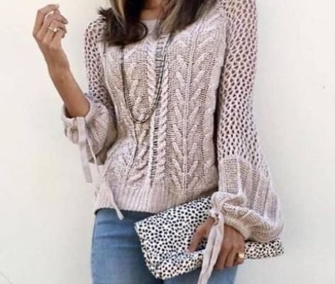 свитер спицами с зигзагом