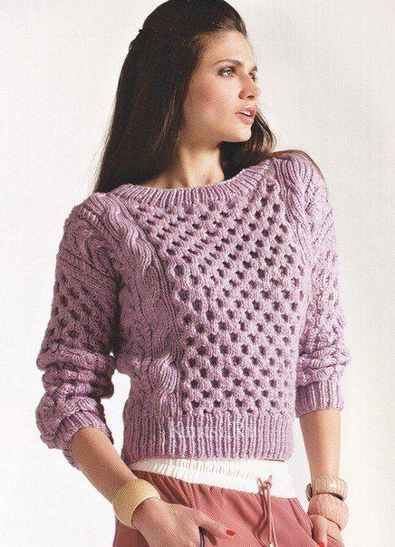 вязаный свитер с сотами