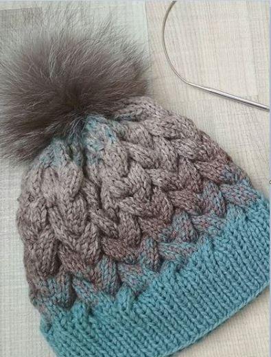 шапка косами спицами схема
