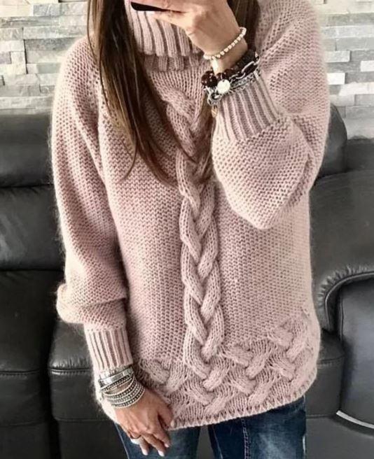 свитер с косой посередине