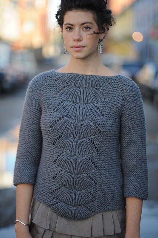 пуловер спицами женский схема