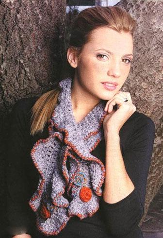 ажурные вязаные шарфы спицами