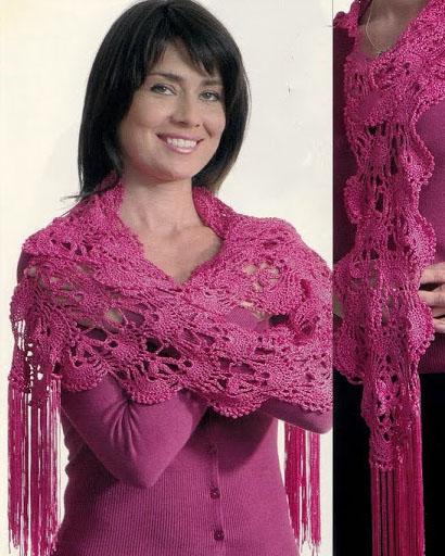 палантин шарф вязаный